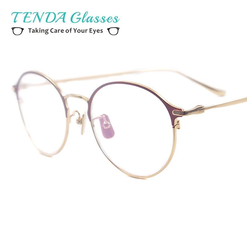 Men Oval Glasses Frame Women Metal Fashion Medium Spectacle For Prescription Multifocal Lenses