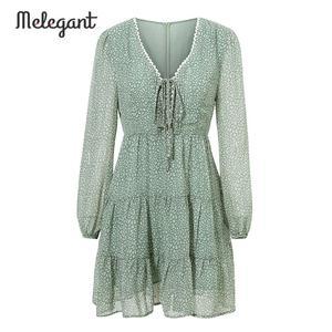 Image 4 - Melegantแขนยาว 2019 ชุดฤดูหนาวฤดูใบไม้ร่วงผู้หญิงสั้นRuffles Femme ElegantสีเขียวสุภาพสตรีชุดชีฟองVestidos
