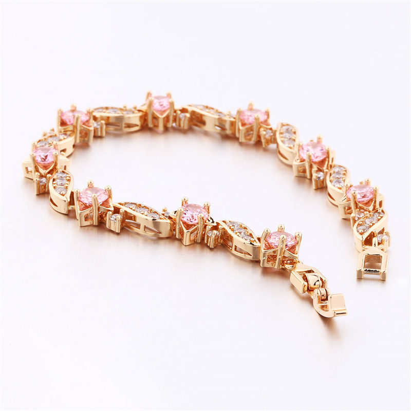 BUDONG 18cm Fashion Hand Bracelets for Women Silver/Gold Color Bracelet Pink Crystal Cublic Zirconia Jewelry Bangles XUL104 6