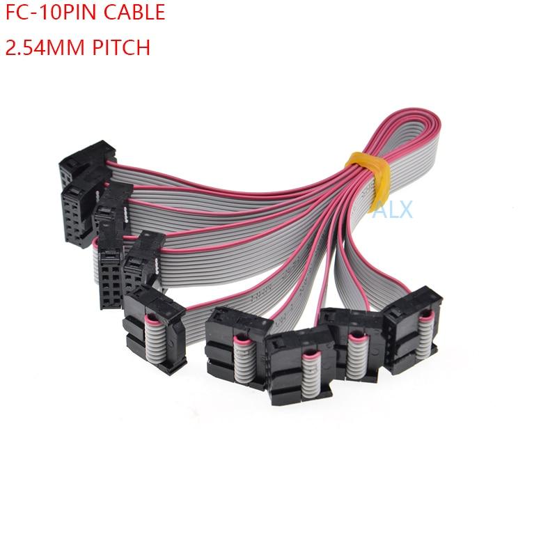 2pcs FC10P 10Pin Arduino DIY IDC Socket Extension Flat Ribbon Cable Wire 20cm
