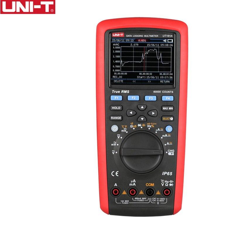 UNI-T ut181a verdadeiro rms datalogging multímetros, 0.1% teste de precisão smart telefone/pc software, função de captura de tendência ip65 à prova dip65 água