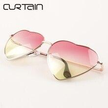 2017 NEW Heart Shaped Pink Sunglasses women Retro metal Reflective Gradient lens Sun glasses Men Mirror oculos de sol Feminino