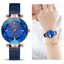 MEGIR Luxury Women Watches Reloj Mujer Blue Stainless Steel Mesh Band Elegant Ladies Watch Women Bracelet Clock Zegarek Damski(China)