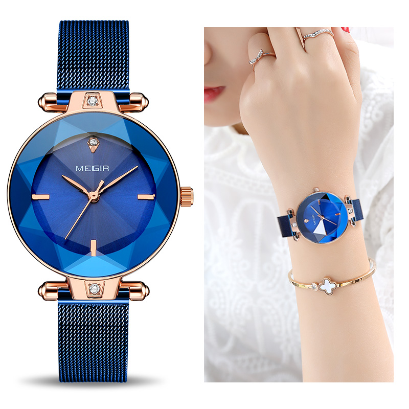 MEGIR роскошные женские часы Reloj Mujer синие сетчатые часы из нержавеющей стали элегантные женские часы браслет женские часы