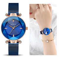 MEGIR luksusowe kobiety zegarki Reloj Mujer niebieski ze stali nierdzewnej opaska z siatki stalowej elegancki Damski Zegarek kobiety bransoletka zegar Zegarek Damski