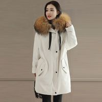 2017 Winter Jacket Women S Corduroy Long Parka Fur Coat Big Fur Collar Hooded Parkas Thick