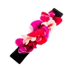 Women Fashion flower Wedding Sashes matching burned fabric elastic belt