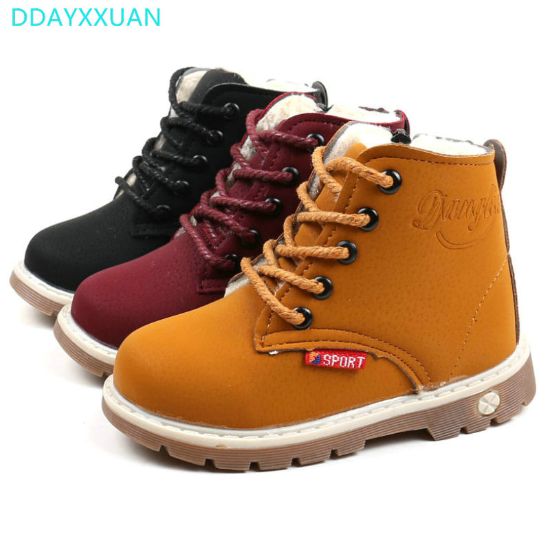 Kids Martin Boots 2017 New Child Winter Warm Shoes Plush Thicker Sole Sports Boys Girls Snow Boots for Baby Boys Sneakers