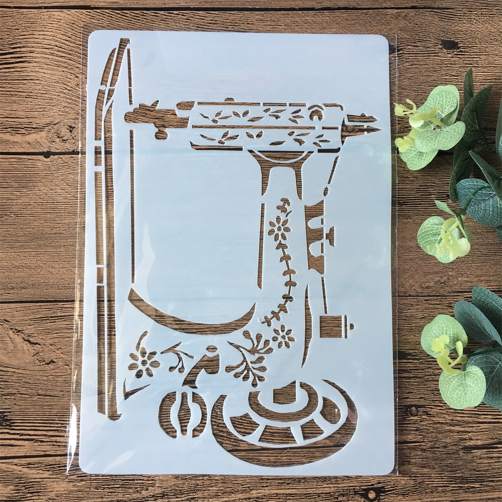 A4 Sewing Machine DIY Layering Stencils Painting Scrapbook Coloring Embossing Album Decorative Paper Card Template