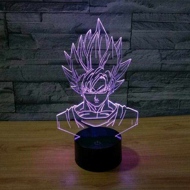 Супер Саян Гоку 3D Bulbing Свет игрушки 2016 Новый 7 цвет изменение зрительных иллюзий СВЕТОДИОДНЫЕ лампы Dragon ball z супер саян гоку игрушка