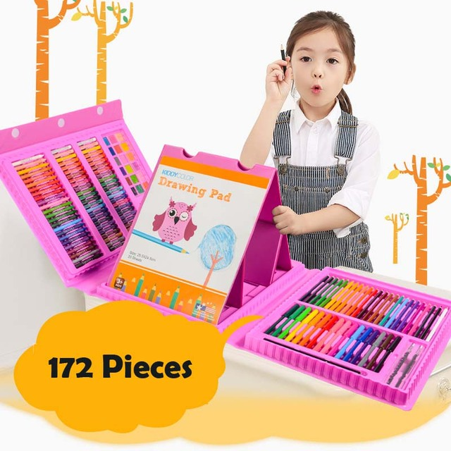 172 Piecs Drawing Pencils Color Pens Crayons Case Art Painting Toy Set for Children Kids with