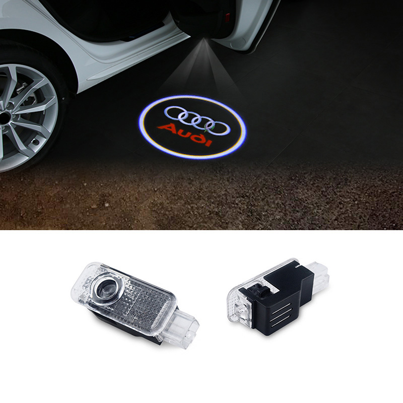 2pcs LED Car door welcome light courtesy led car laser projector Logo Ghost Shadow Light For Audi Logo power Light 2 pcs led car door welcome projector logo ghost shadow laser emblem light for toyota honda vw bmw mini audi mazda mercedes benz