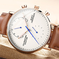 Relojes de Cuero genuino con diseño GUANQIN, reloj deportivo para hombre de primera marca, reloj de pulsera de cuarzo para hombre, impermeable, de zafiro y analógico