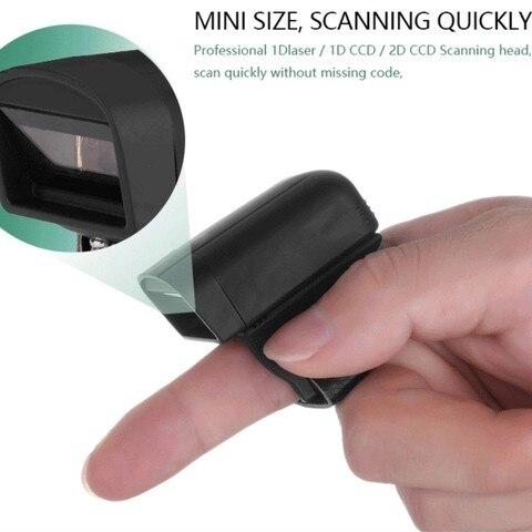 scanner de codigo de barras anel sem fio 2d pdf417 leitor codigo qr mini portatil