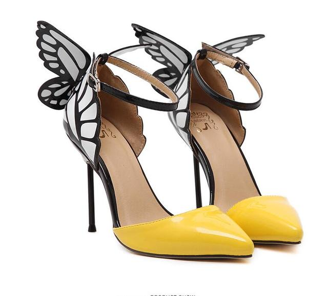 2017 Thin High Heels Women Pumps 8/11cm ,Butterfly Heels Sandals,Sexy Wedding Shoes Party yellow black Big Size 35-40 179