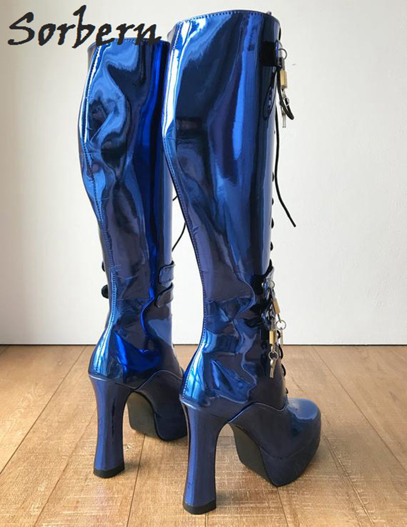 036b46111a Sorbern Blue Metallic Locking Women Boots Knee High 6 Lockable Strap Lace  Up Block Heels Spool Platform Sexy Fetish Boot Lady