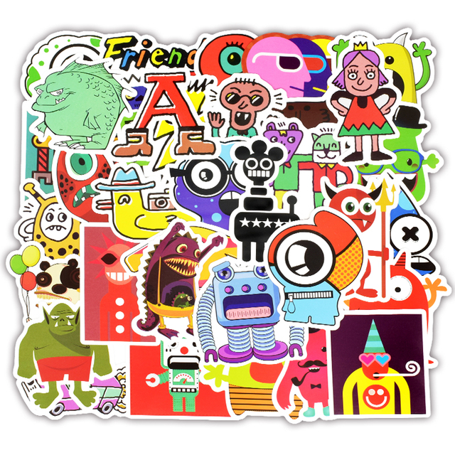 50pcs Monster Doodle Stickers Funny Graffiti Cartoon Character Robot Sticker to DIY Luggage Laptop Bicycle Skateboard Guitar F5