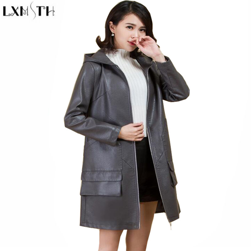 LXMSTH 2019 Spring Autumn   Leather   Coat Women Long Trench Casual Loose Hooded Plus Size Faux   Leather   Coats Ladys Outerwear 5XL