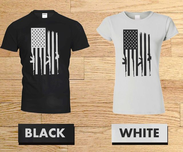 dc4db693 RED RIFLE FLAG T shirt Mens GRUNT STYLE short sleeve military patriot USA 2