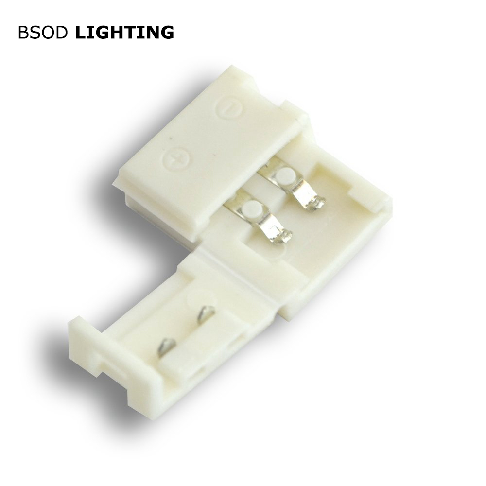 BSOD Led Connector 2 Pins Single Color 8mm LED Gapless Connector For 3528 3014 2835 Strip No Soldering Jumper  Easy Installing