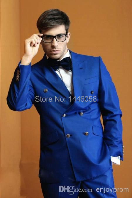 Latest Coat Pant Designs 2015 Double Breasted Wedding Suits For Men Royal Blue Groom Tuxedos Groomsman