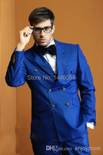 Latest Coat Pant Designs 2015 Double Breasted Wedding Suits For Men Royal Blue Groom Tuxedos Groomsman Suit (Coat+ Pants + Tie)