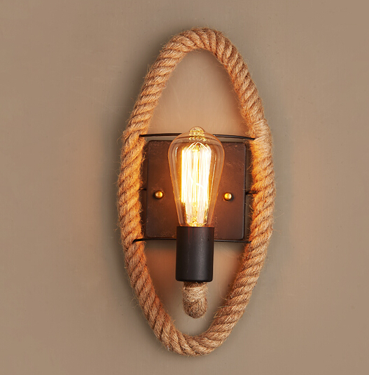 Retro Vintage Fixtures Loft Industrial hemp rope wall lamp Edison Wall Sconce Restaurant Bar Cafe aisle lamp 110-240V