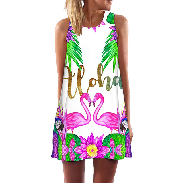Women Casual A Line Dress 2018 New Arrival Sleeveless Summer Boho Style Beach Party Dresses Robe Vintage Casual Flamingo Dress