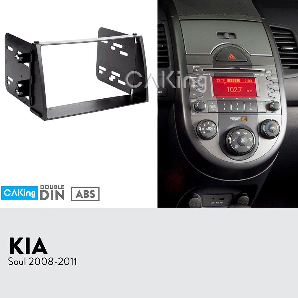 Double Din Car Fascia Radio Panel for KIA Soul 2008 2011 Dash Kit Install Adapter Console