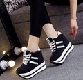 Fashion brand Spring Women high wedge casual shoes Female 12CM Increased Height Shoes Woman Platform Loafers Canvas Single Shoes