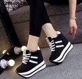 Marca de moda Primavera Mulheres alta cunha sapatos casuais Fêmea 12 CM Aumento Da Altura Shoes Mulher Sapatos de Plataforma de Lona Sapatos Único