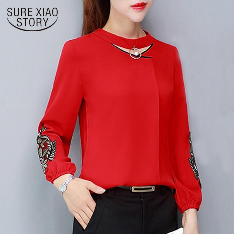 fashion Autumn chiffon   Blouse     shirt   Womens Tops and   blouses   2018 clothing Female Long Sleeve   Shirt   women blusa feminina 1316 40