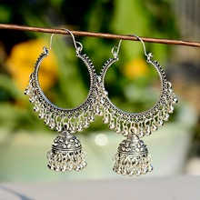 2019 Classic Women Big Round Silver Jhumka Jhumki Earrings Indian Jewelry Tribe Vintage Ethnic Bohemia Boho Bell Tassel Earrings 2018 summer new india golden jhumki earrings bohemia blue tassel earrings hippy charm fake beach travel jewelry