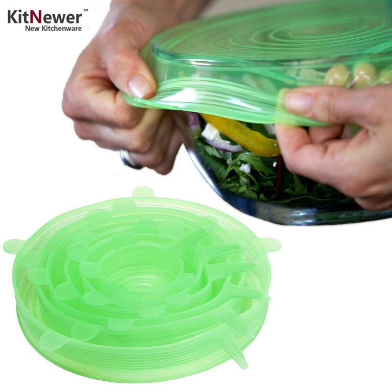 [1 set = 6 pezzi] Coperchi in silicone universale, guarnizioni riutilizzabili Premium Stretch, vasellame Gadget Pot Coperchio vaschetta