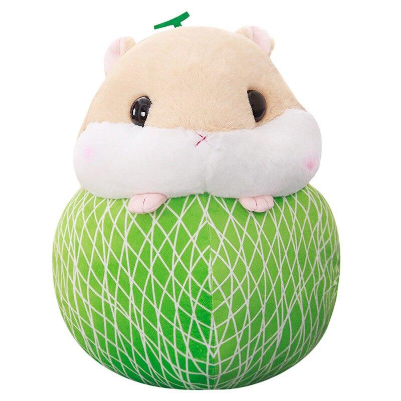 Cute Hamster Plush Toys Staffed Cartoon Animal Doll Kawaii Hamster Turn to Fruits Pillow Creative Kids Children Gift Dolls, GU20