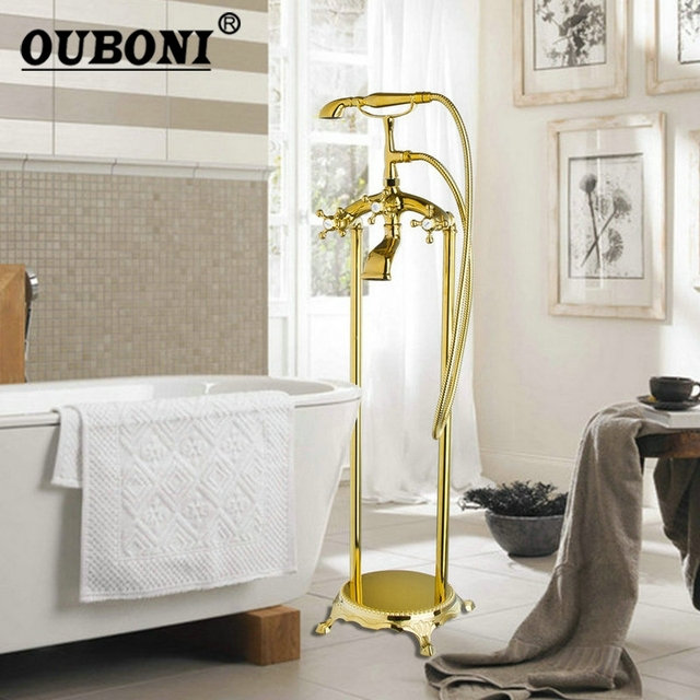 Ouboni Golden Plated Bathroom Shower Set Floor Mount Freestanding