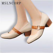 Plus Size 34-48 spring summer Mary Jane Shoes Women In with Pumps Buckle Shoes Thick High Heel Casual Ladies chaussures femme ankle strap buckle thick high heel ladies red pumps 2019 sexy wedding shoes bride mary jane shoes party heel shoes for ladies
