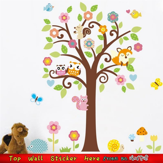 Wise Owls Tree Wall Stickers Henna Flower Wall Decals For Kids Room