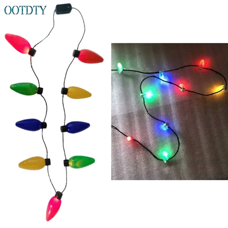 High Quality New LED Light Up Christmas Bulb Necklace Flashing Xmas Parties Favors Birthday Gifts #330