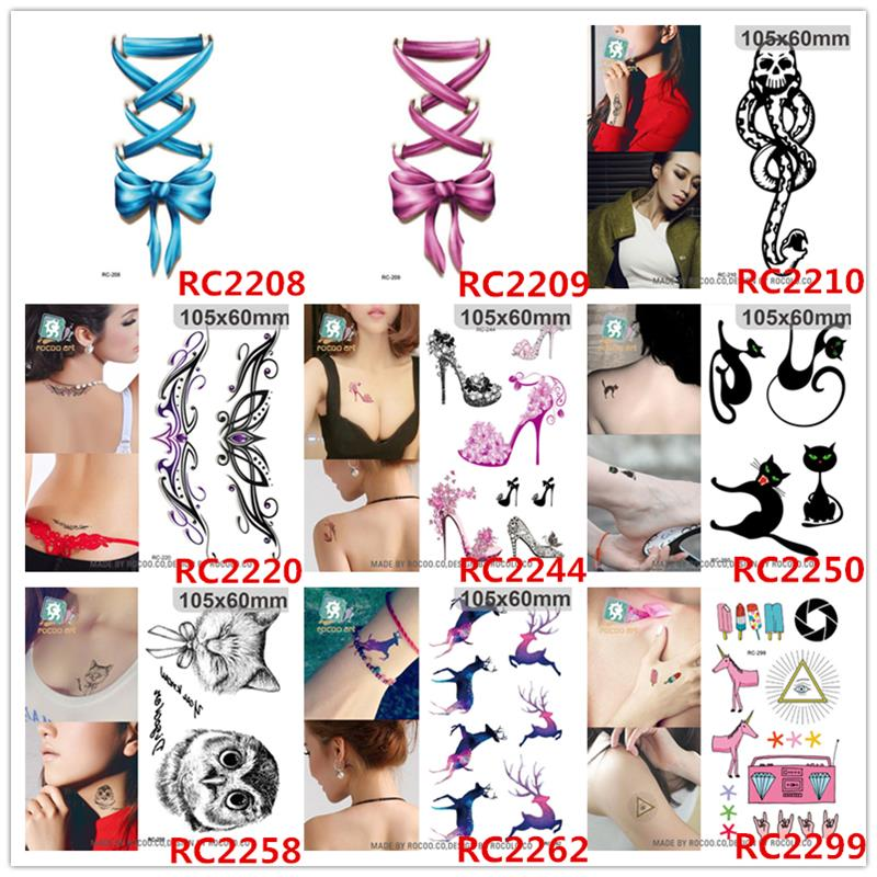 lady women cute 3d black cat design flash tattoo sticker 1