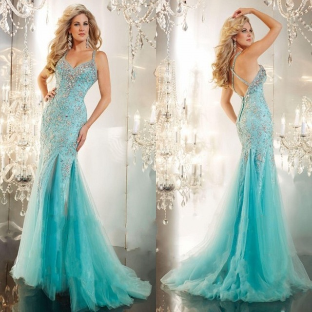 Sexy Brillante Azul Turquesa Sirena De Baile Vestidos Largos