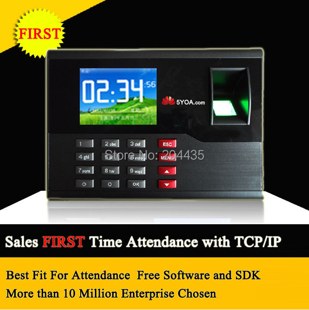 5YOA Biometric Fingerprint Time Attendance TCP IP TFT Energy Saving Recorder Clock System Recording RFID Card