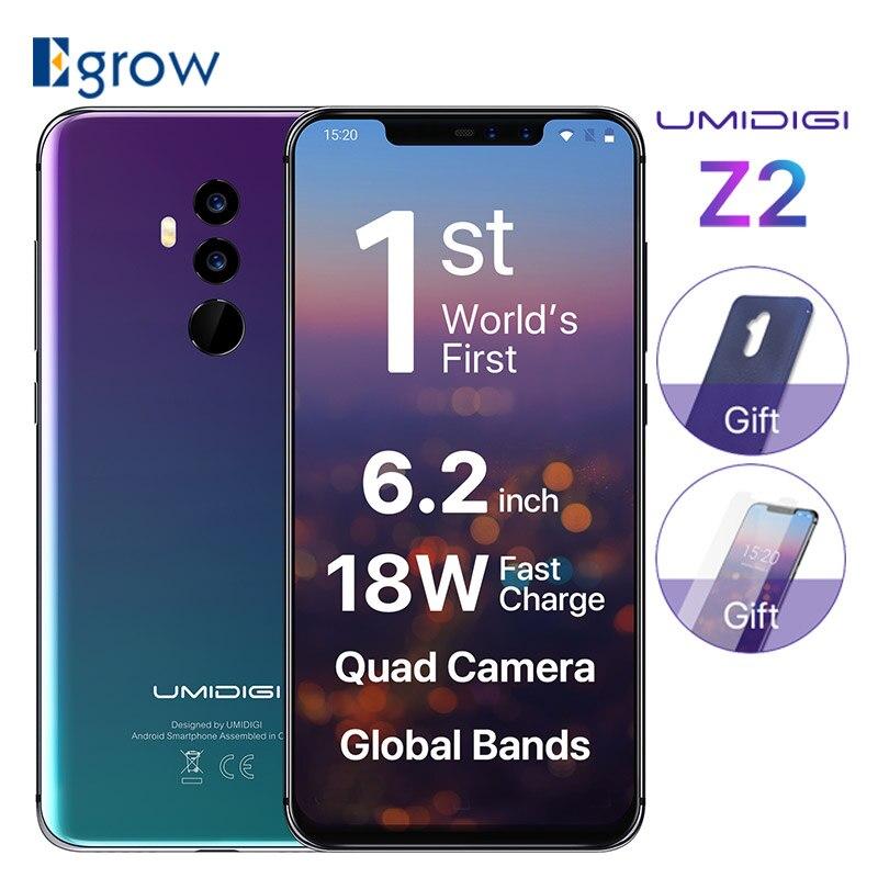 UMIDIGI Z2 Helio P23 6 ГБ Оперативная память 6 4G B Встроенная память мобильного телефона 6,2 FHD + полный Экран Quad камера Android 8,1 3850 мАч Face ID смартфон 4G