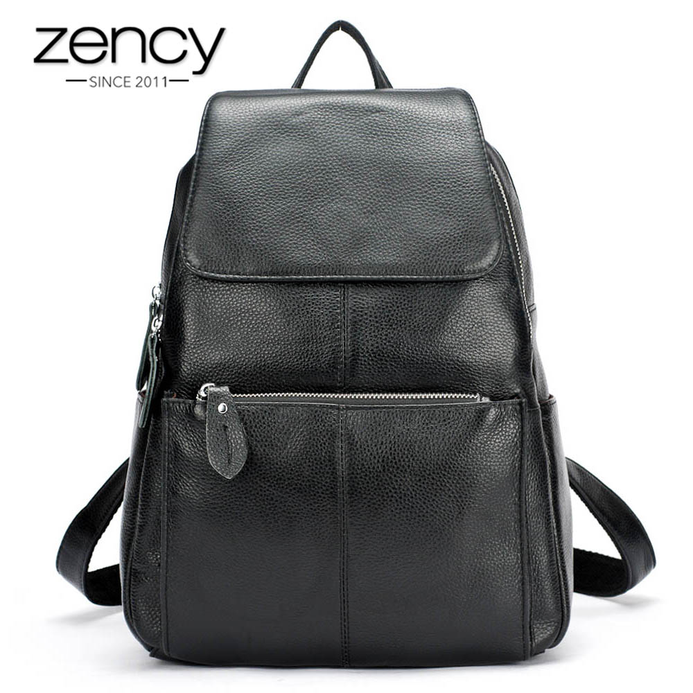 Zency Fashion Color 100% Genuine Leather Casual Women's Backpacks Casual Travel Knapsack Laptop Bag Ladies Pocket Girl Schoolbag fashion 100% real genuine leather casual women s backpacks female casual knapsack laptop bag ladies pocket girl schoolbag hp47