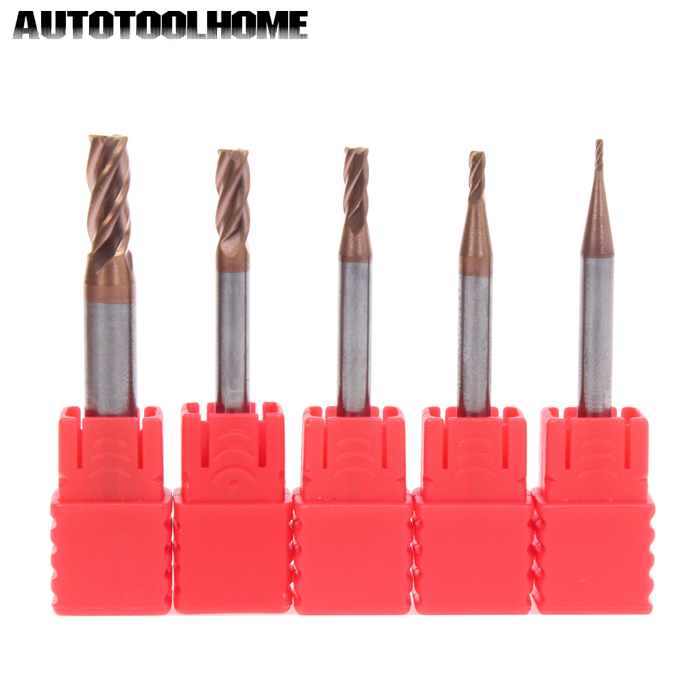5PC 4 Flutes Tungsten Milling Cutter End Mill Bits Set Straight Shank 1 2 3 4 5mm for Stainless Steel Metal CNC Machine HRC45 55 uxcell 10 pcs silver tone hss 3mm cutting dia straight shank helical groove 2 flutes milling cutter end mill end mill