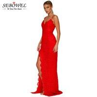 SEBOWEL 2017 Sleveeless Elegant Long Dress Women Backless High Slit Red Lace Party Dress Floor Length