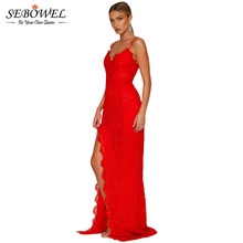 SEBOWEL Elegant Red Lace Party Dress Women Sexy Black Lace Maxi Party Dress Lady Long Split Lace Evening Gown for Bridal Wedding