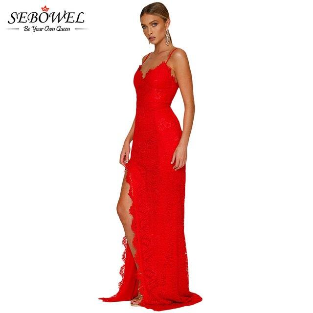 5c3e209645 SEBOWEL rojo elegante vestido de fiesta de encaje de mujeres Sexy Maxi de  encaje negro fiesta