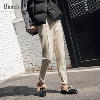 Spring autumn and winter fashion solid color elastic waist Taper Pants women casual pencil pants