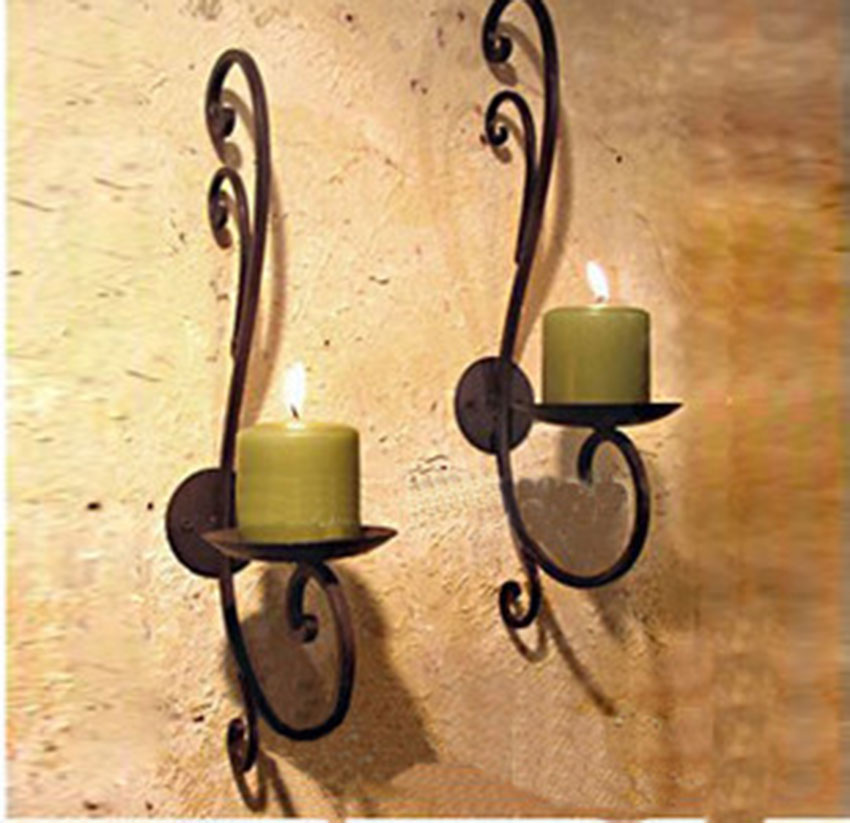 Iron Candle Holder Home Decoration Metal Stand Vintage Finish Wall Mount Stick Entryway